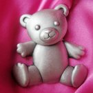 LARGE JJ Pewter Teddy Bear PIN Reticulated