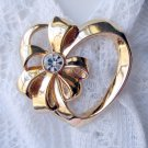 Avon April Birthstone Gold Tone Heart Pin Brooch