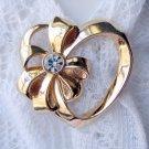 Avon April Birthstone Gold Tone Heart Pin Brooch