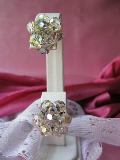 Vintage Crystal Clip Earrings aurora borealis
