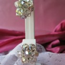 Vintage Crystal Clip Earrings aurora borealis