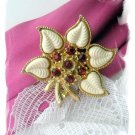 Flower Pin with Red Rhinestones - Vintage Sweety