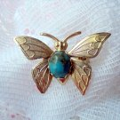 Vintage Faux Turquoise Butterfly Brooch Pin