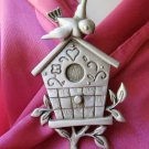 Pewter signed JJ bird pin - birdhouse