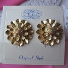 Vintage Signed Tara Gold Petals Clip Earrings
