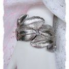 Unique Vintage Brushed Silvertone Cuff Feather Bracelet