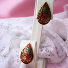 Vintage Exquisite Cloisonne leaf with Flowers Pierced