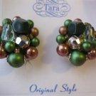 Beaded Clip Vintage Signed Earrings by Tara - green