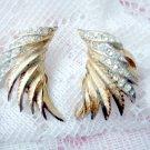 Vintage signed Capri clip rhinestone earrings