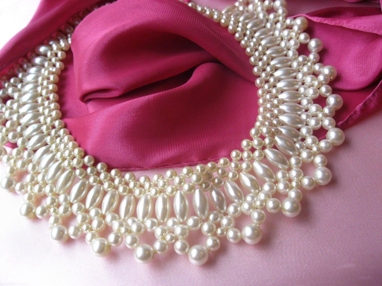 Vintage Bib Collar Faux Pearl Vintage Necklace