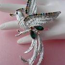 Silvertone Rhinestone Vintage Bird Figural Pin brooch jewelry