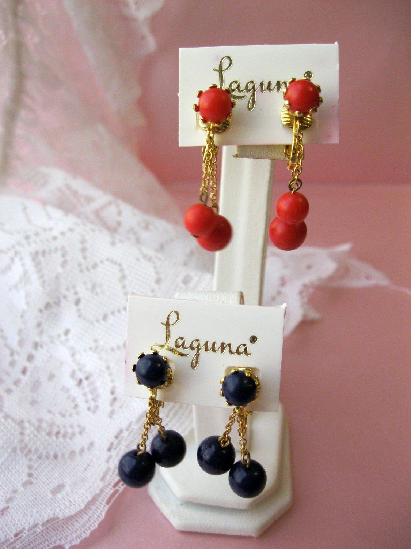 2,Vintage Clip Earrings,Laguna,Blue earrings,Red earrings,vintage earrings,signed,