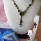 Tiger's Eye Medallion,Avon Necklace,Avon Earrings,earrings,Gift Set