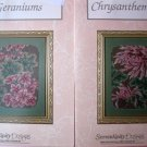 2 Serendipity Designs Cross Stitch Charts  Chrysanthemums Geraniums