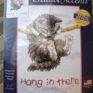 Hang in There Cat Kitten Cross Stitch Kit