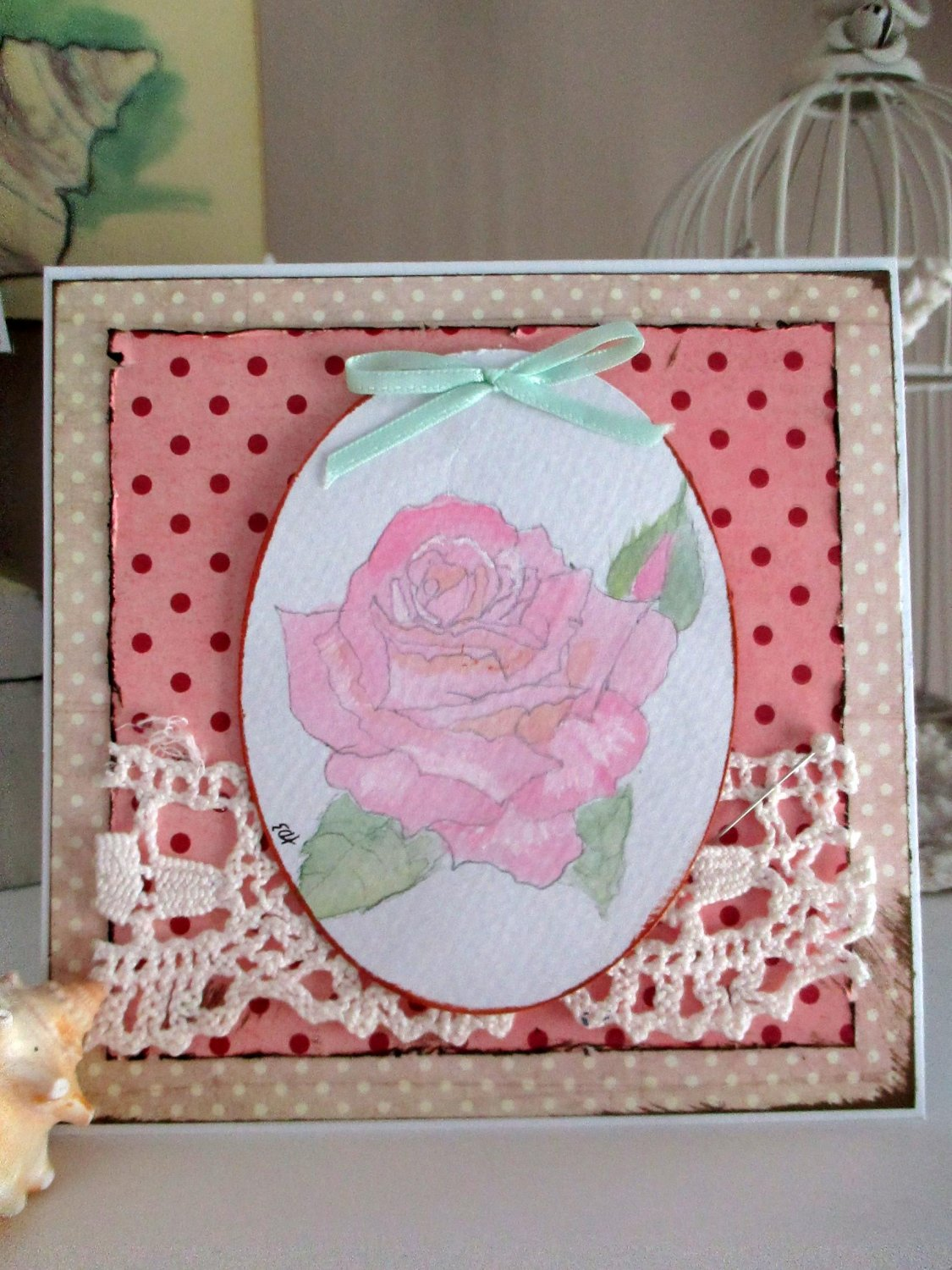 set of 3 handmade greeting cards watercolor roses chic vintage style blank