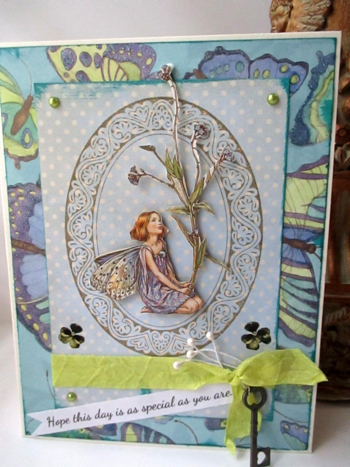 Birthday Card - Forget Me Not Fairy Handmade Card Cicely Mary Barker