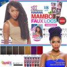 """2x Mambo Faux Locs 18"""" - Colour #1 (Jet Black)"""