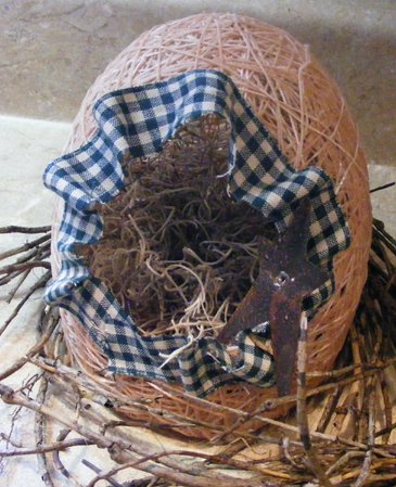 Country Style Primitive Handmade Easter Egg Basket