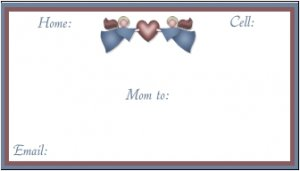 MOM TO MOM INFORMATION CARDS Mommy Cards