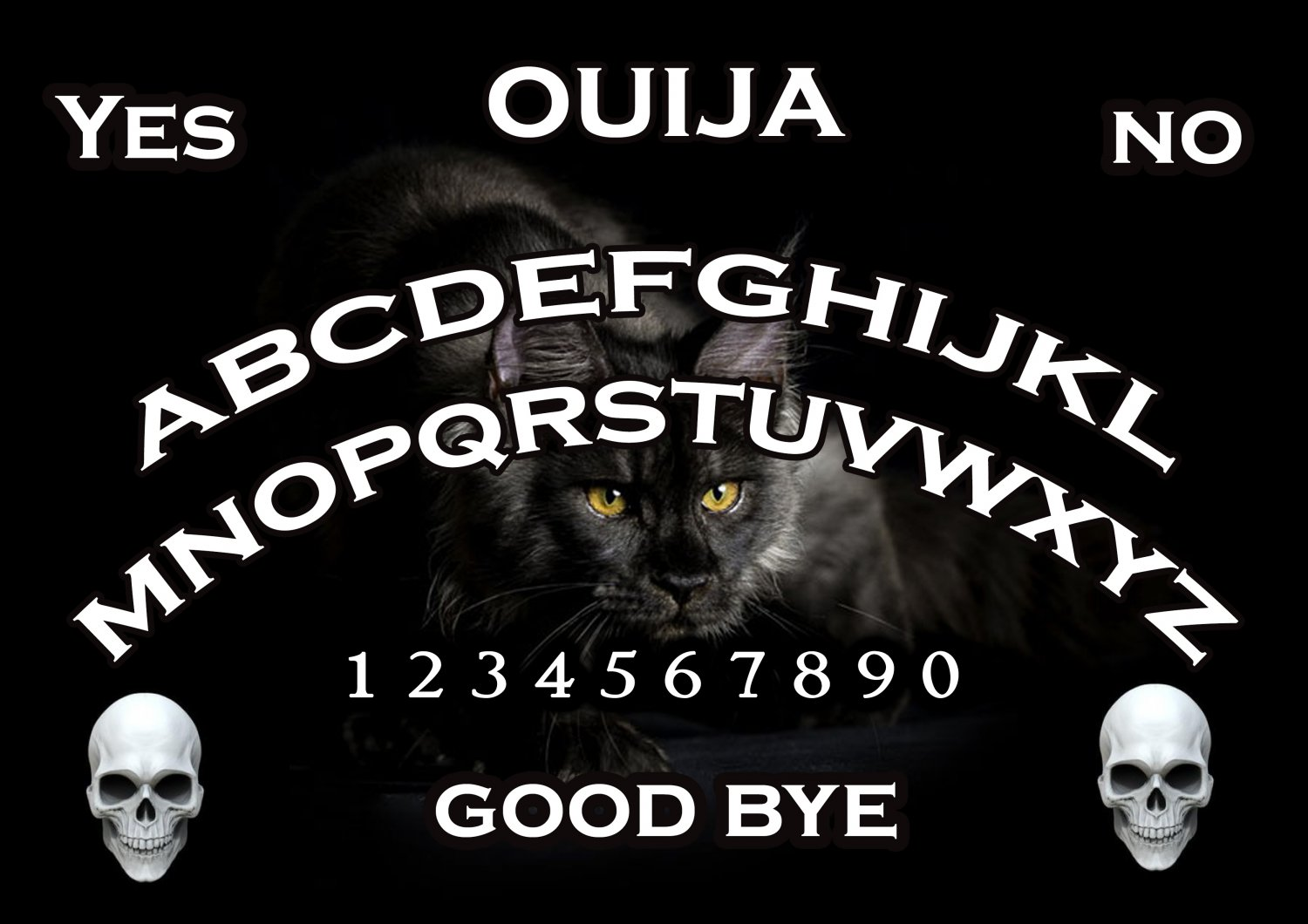 Panther / Black Cat A4 Ouija Board :Laminated Print (Ghost Hunting EVP, Wicca, Witchcraft)