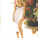 Mesh Gown Black & White Long (Size Large) Embroidered