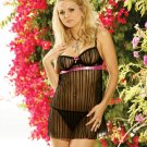 Striped Mesh Babydoll Black (Size Large) G-String Also