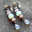 Opalite Glass Drop Clip On Earrings