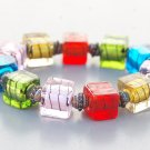Multi Color Inner Stripe Glass Cube Bracelet