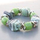 Big Mint Swirl Green Glass Statement Stretch Bracelet
