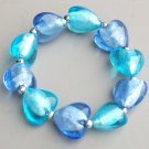 Aqua Blue Lampwork Heart Stretch Bracelet