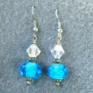 Aqua Lampwork Crystal Drop Earrings