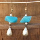 Simulated Turquoise and Pearl Artisan Drop Earrings