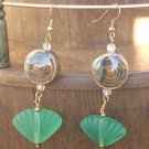 Green Sea Glass Shell Glazed Porcelain Earrings