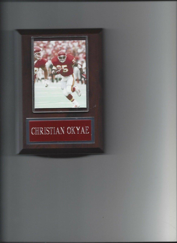 CHRISTIAN OKOYE PLAQUE KANSAS CITY CHIEFS KC FOOTBALL NFL