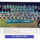 1971 DETROIT LIONS 8X10 TEAM PHOTO FOOTBALL NFL PICTURE