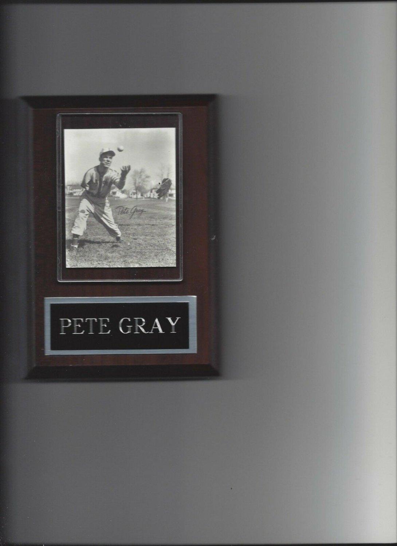 PETE GRAY PLAQUE ST. LOUIS BROWNS BASEBALL PICTURE 1 ARM