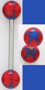 NEW - Body Jewelry - Star Tongue Ring - COLORS: red / blue