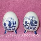 Blue & White Egg Shaped Salt Pepper Shakers Dutch Windmill Style Made in Japan