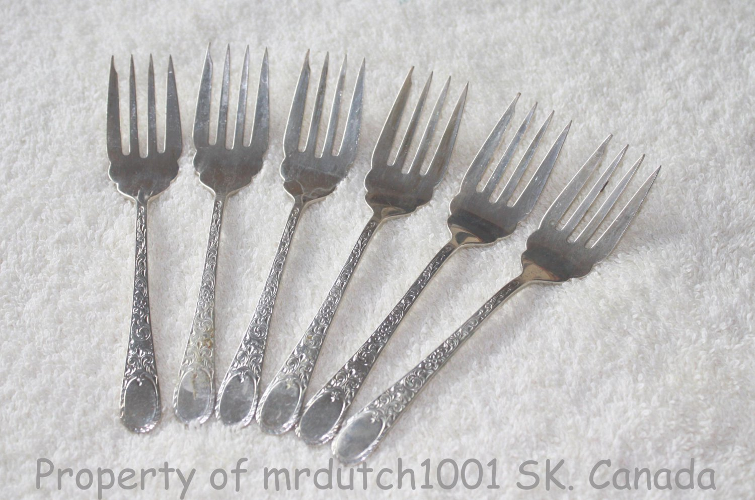 SALE PENDING>>>6 Birks London Engraved Sterling 1914 No Monograms Birks Silver Salad Forks