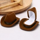 Cowboy Hat Shape VelvetDisplay Gift Box Jewelry Case For NecklaceEarring Ring