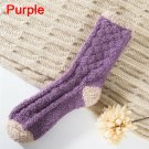 Extremely Cozy Cashmere Socks Women's Winter Warm Sleep Bed Floor Home Fluffy - Purple