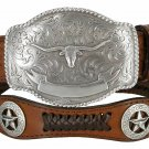 BROWN TEXAS LONGHORN WESTERN Style GENUINE LEATHER COWBOY CONCHO BELT