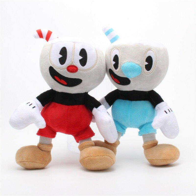 "UNA 2 PCS Cuphead Game Soft Plush - Cuphead & Mugman Mecup And Brocup kids Gift 10 """