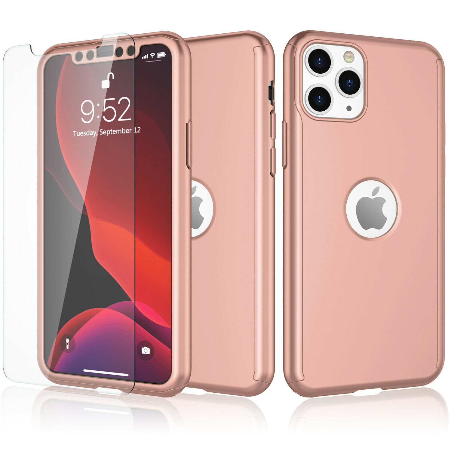 UNA SELLER For iPhone 11 360° Case Cover with Tempered Glass Screen Protector #Rose Gold
