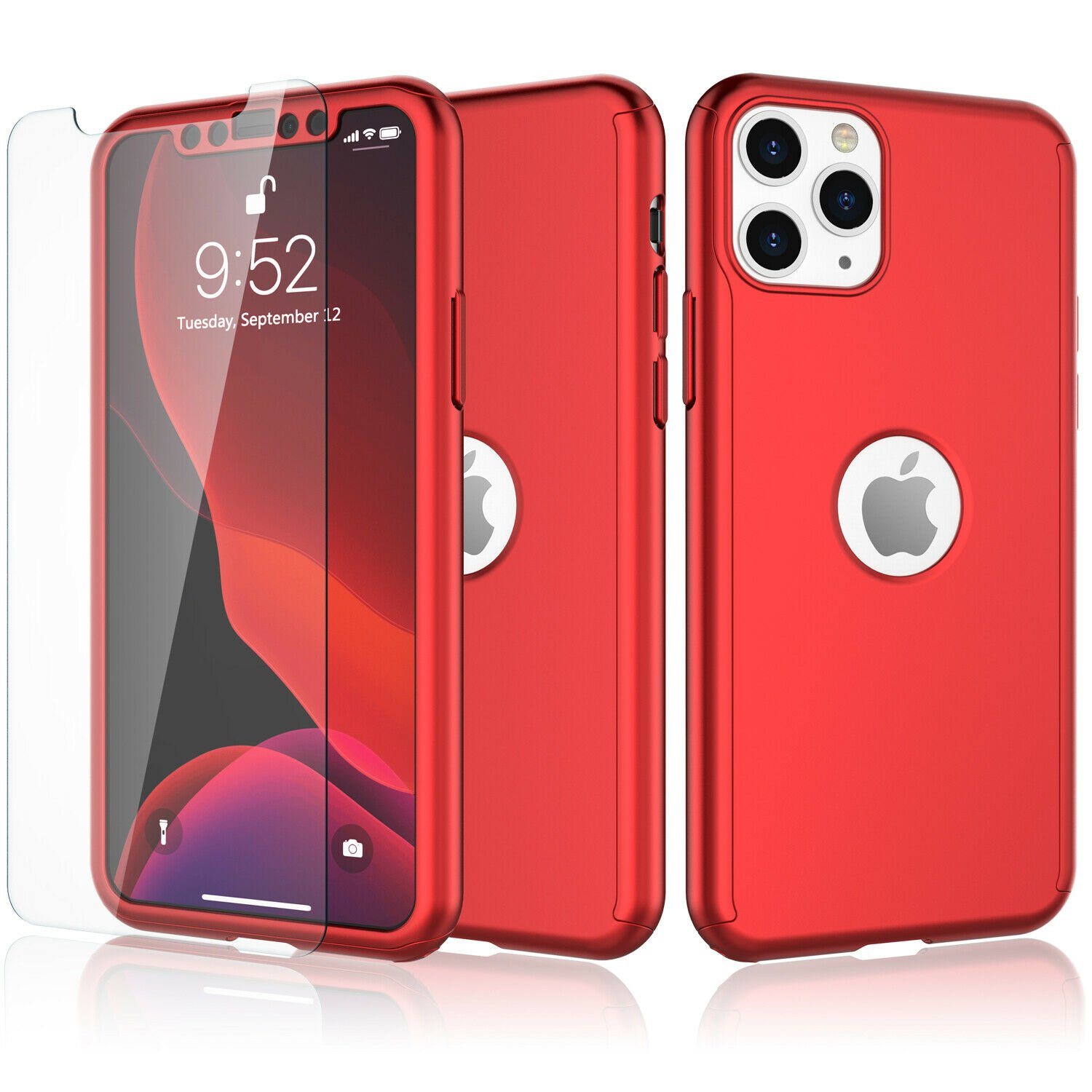 UNA SELLER For iPhone 11 360° Case Cover with Tempered Glass Screen Protector #Red