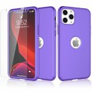 UNA SELLER For iPhone 11 Pro Max 360° Case Cover with Tempered Glass Screen Protector #Purple