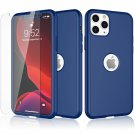 UNA SELLER For iPhone 11 Pro Max 360° Case Cover with Tempered Glass Screen Protector #Blue