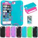 "UNA SELLER Film + Hybrid Shockproof Rugged Rubber Hard Case Cover For 4.7"" iPhone 6 #Blue Hot Pink"