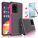 "UNA SELLER For Samsung Galaxy S20 Ultra 6.9"" 2020 Shockproof Case Cover + Screen Protector #Hot Pink"